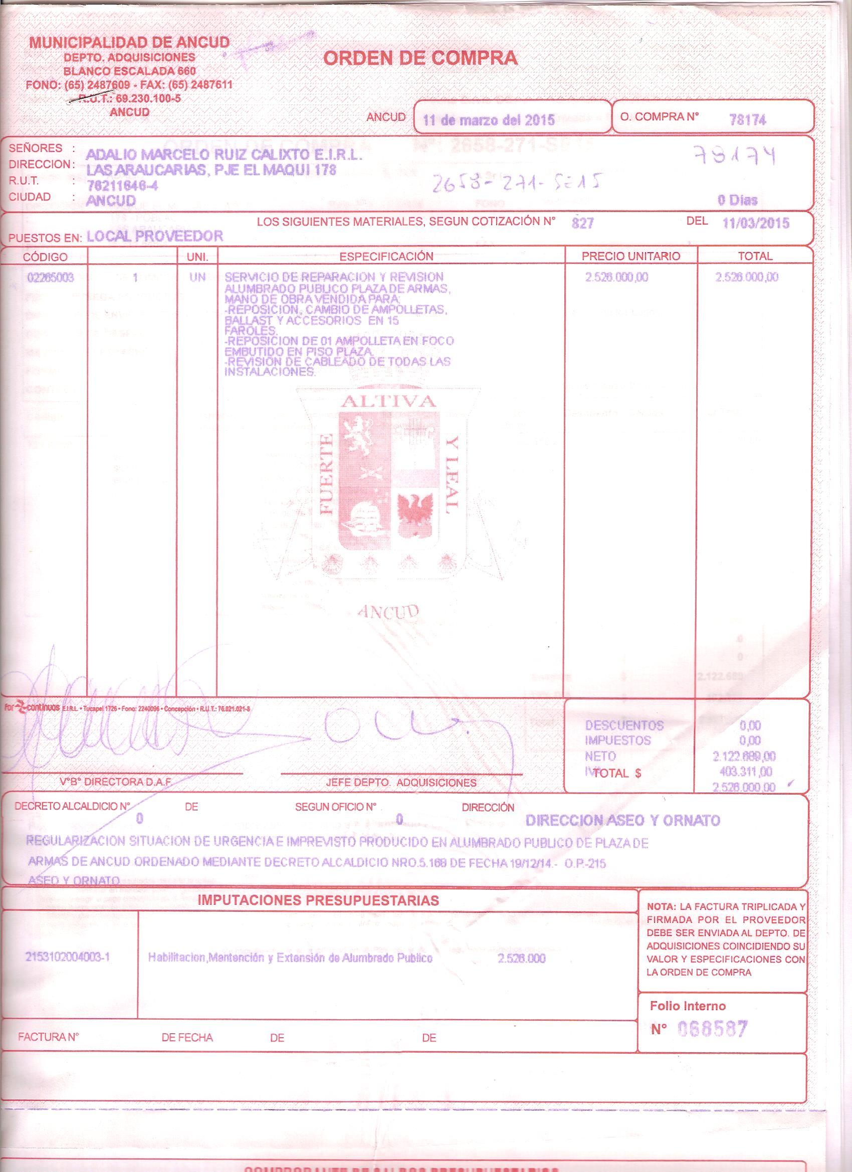 02 03 2015 Orden De Compra 78090 Pasaje Ayuda Social Sra Mirsas  # Muebles Loa Sur Ancud